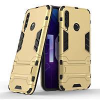 Чехол Hybrid case для Honor 10i бампер с подставкой золотой