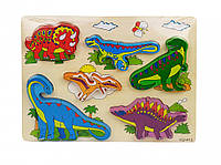 Деревянная игрушка Рамка-вкладыш MD 1213 (Динозавры)