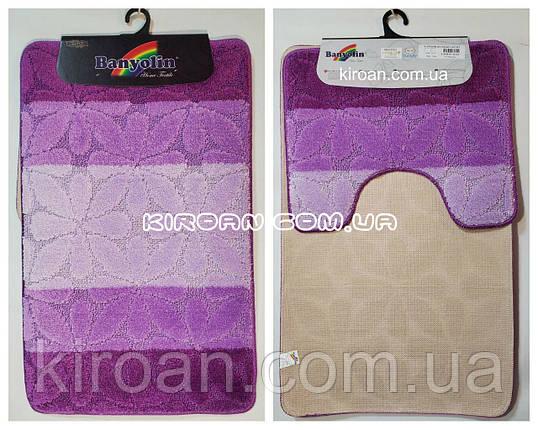 """Фиолетовый набор ковриков в ванную комнату """"Баньолин"""" 50x80см и с вырезом 40x50см, фото 2"""