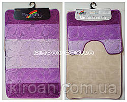 """Фиолетовый набор ковриков в ванную комнату """"Баньолин"""" 50x80см и с вырезом 40x50см"""
