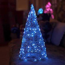 Декор Елка ЛОФТ Новогодняя Рождественская Ель с LED Гирляндой На Батарейках Или От USB 32х16см SilverBlue LOFT