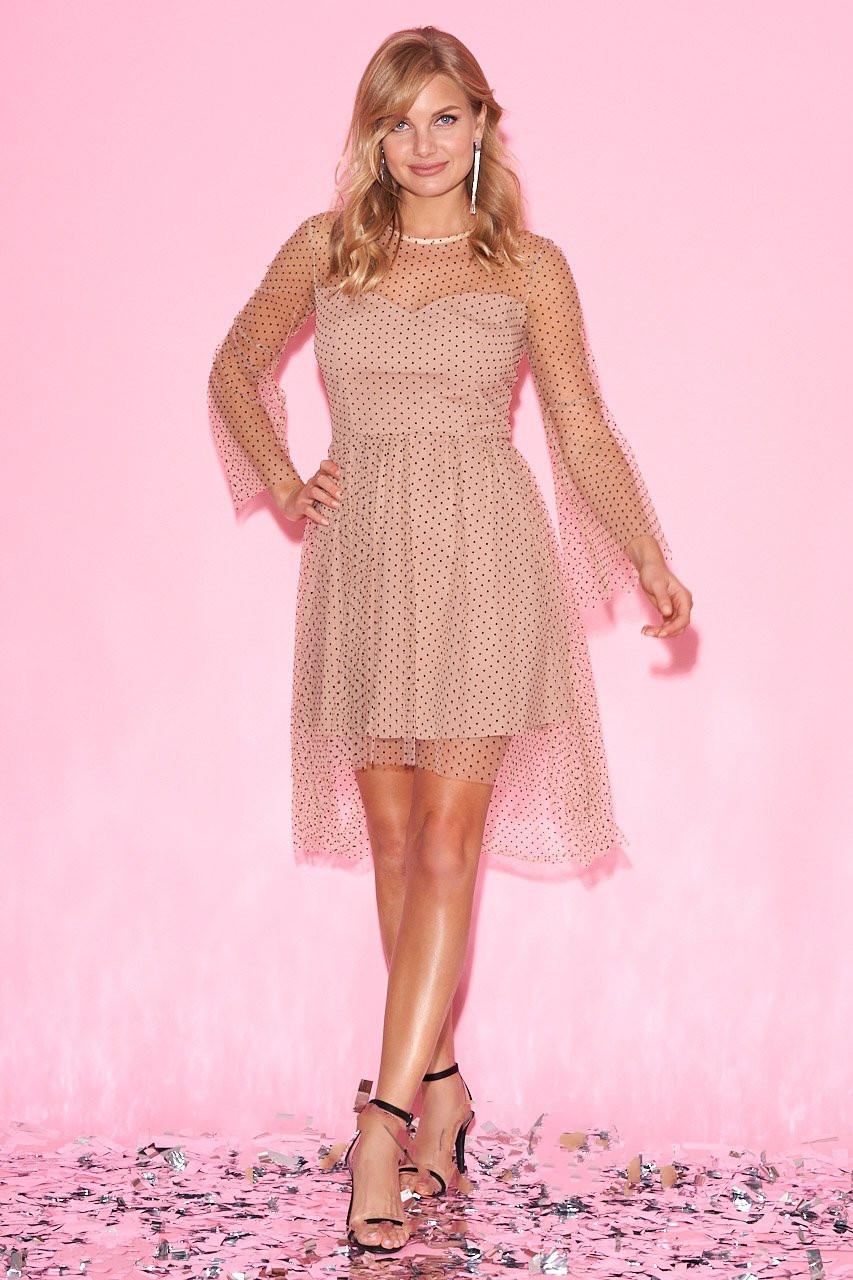 Мини платье в сетку Мальвина-2 в мелкий горошек