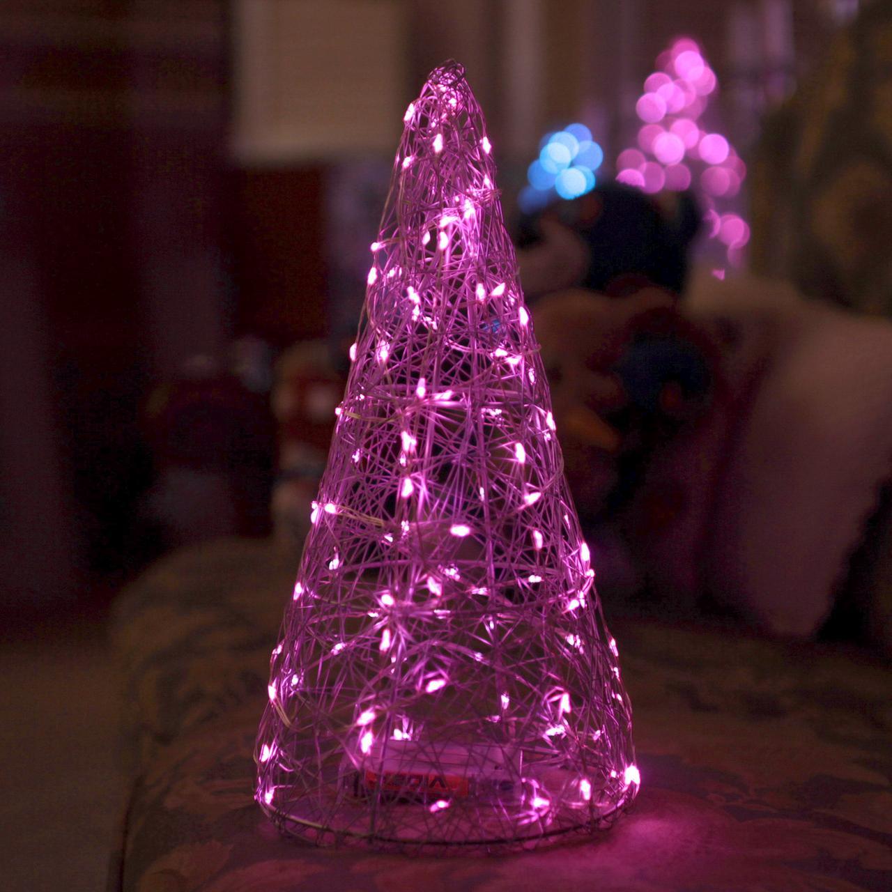 Декор Елка ЛОФТ Новогодняя Рождественская Ель с LED Гирляндой На Батарейках Или От USB 32х16см SilverMultiLOFT