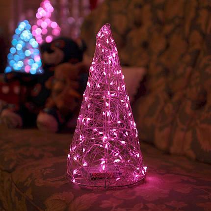 Декор Елка ЛОФТ Новогодняя Рождественская Ель с LED Гирляндой На Батарейках Или От USB 32х16см SilverMultiLOFT, фото 2
