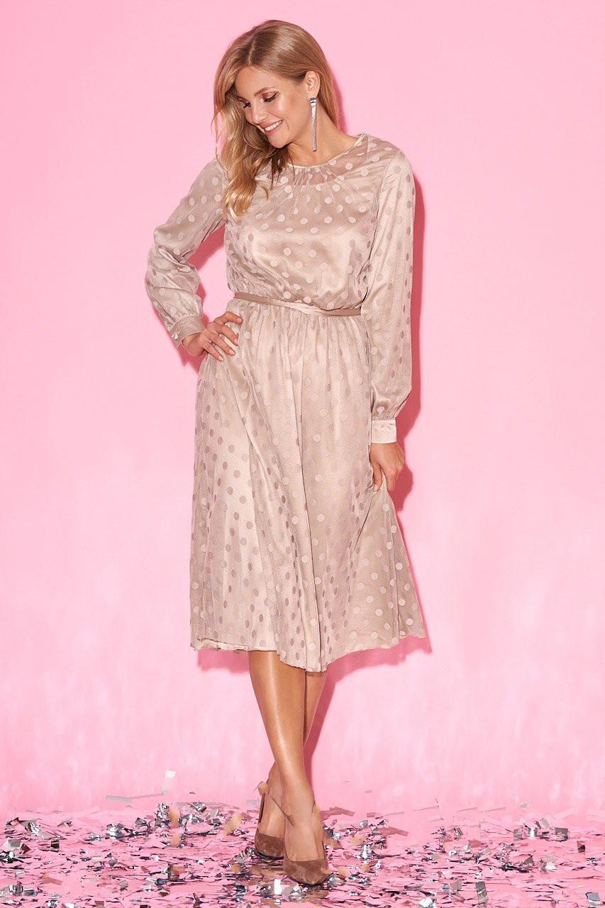 Платье миди из шелковой сетки Вита в горох