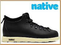 Зимние термо ботинки Native Fitzsimmons Black White (нейтив фитцсиммонс, черные) термоносок
