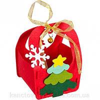 Поделка из фетра 3 вида Сумочка новогодняя для подарков из фетра,  Дед мороз, олень, елочка