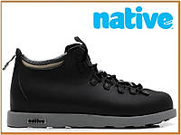 Зимние термо ботинки Native Fitzsimmons Black Grey (нейтив фитцсиммонс, черные) термоносок