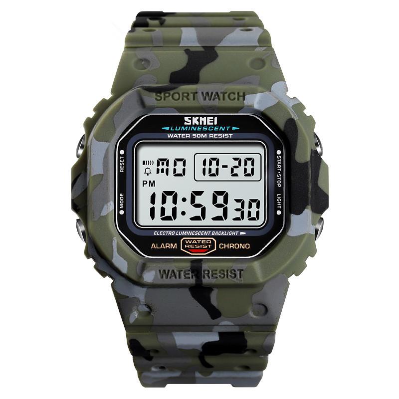 Skmei 1471 зелений камуфляж чоловічі спортивні годинник