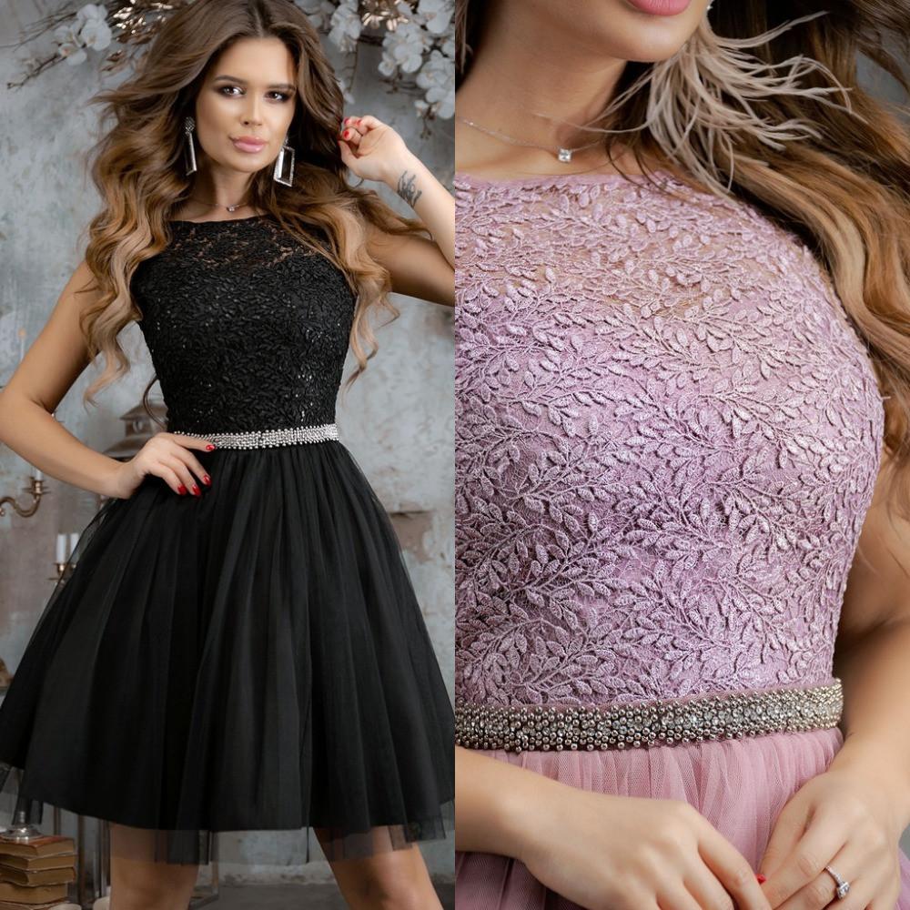 Платье женское вечернее короткое, пышное, верх набивной гипюр+сетка, короткий рукав, вырез на спинке, фото 1