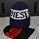 Хайповая мужская шапка Diesel синяя Турция Дизель Молодежная Крутая Новинка 2020 года VIP Стильная реплика, фото 5
