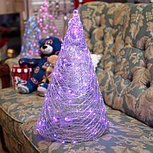 Декор Елка ЛОФТ Новогодняя Рождественская Ель с LED Гирляндой На Батарейках Или От USB 45х27см SilverMultiLOFT, фото 2