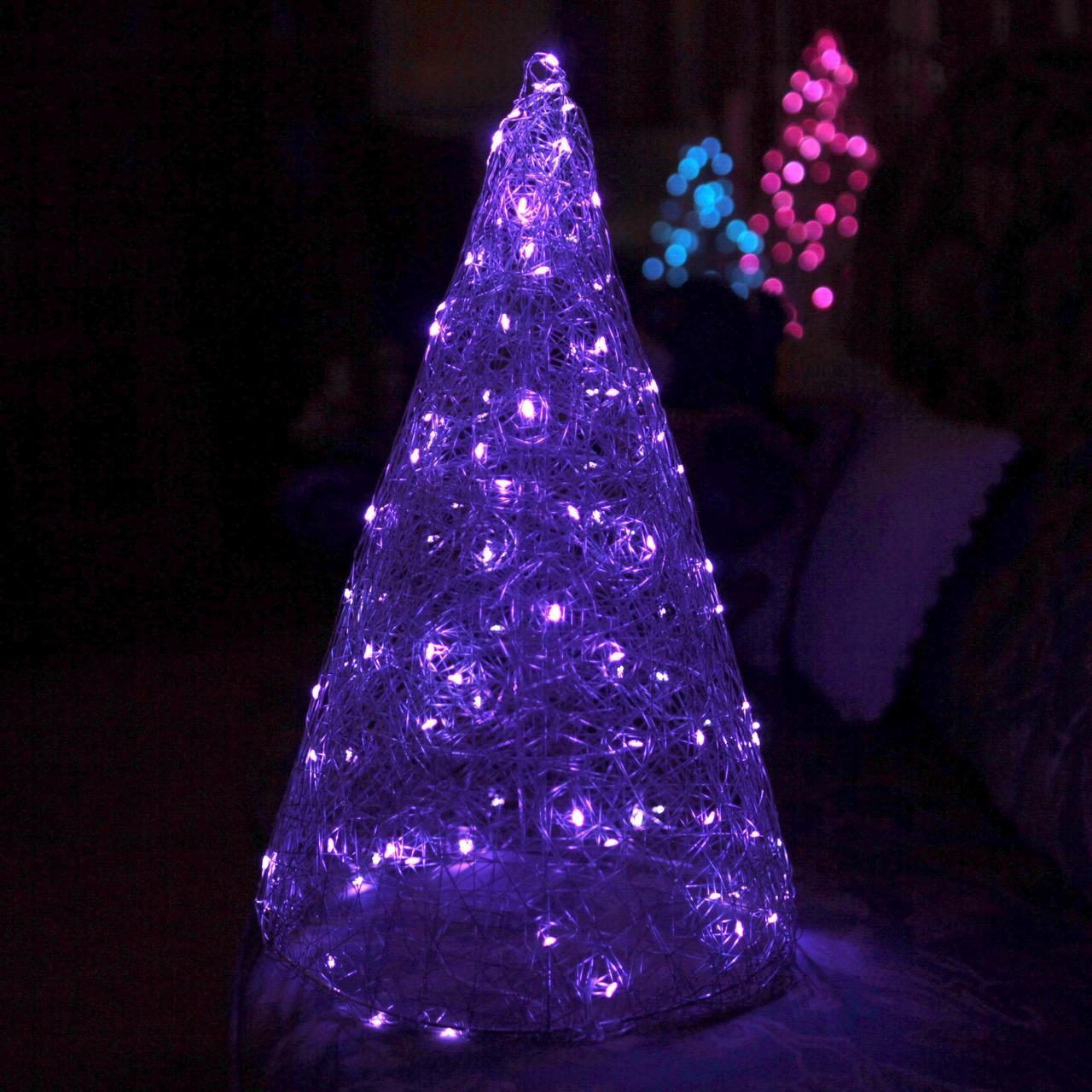 Декор Елка ЛОФТ Новогодняя Рождественская Ель с LED Гирляндой На Батарейках Или От USB 45х27см SilverMultiLOFT