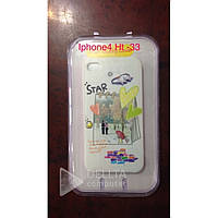 Чехол - бампер для Iphone 4 Ht-33, белый с принтом, пластик, чехол на мобильный телефон, чехлый Iphone