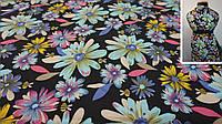 Ткань летний джинс чёрный с цветами, фото 1