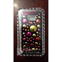 Бампер для телефона Samsung SII crystal HT-3, черный с разноцветными каплями, противоударный, Чехол для телефона Samsung