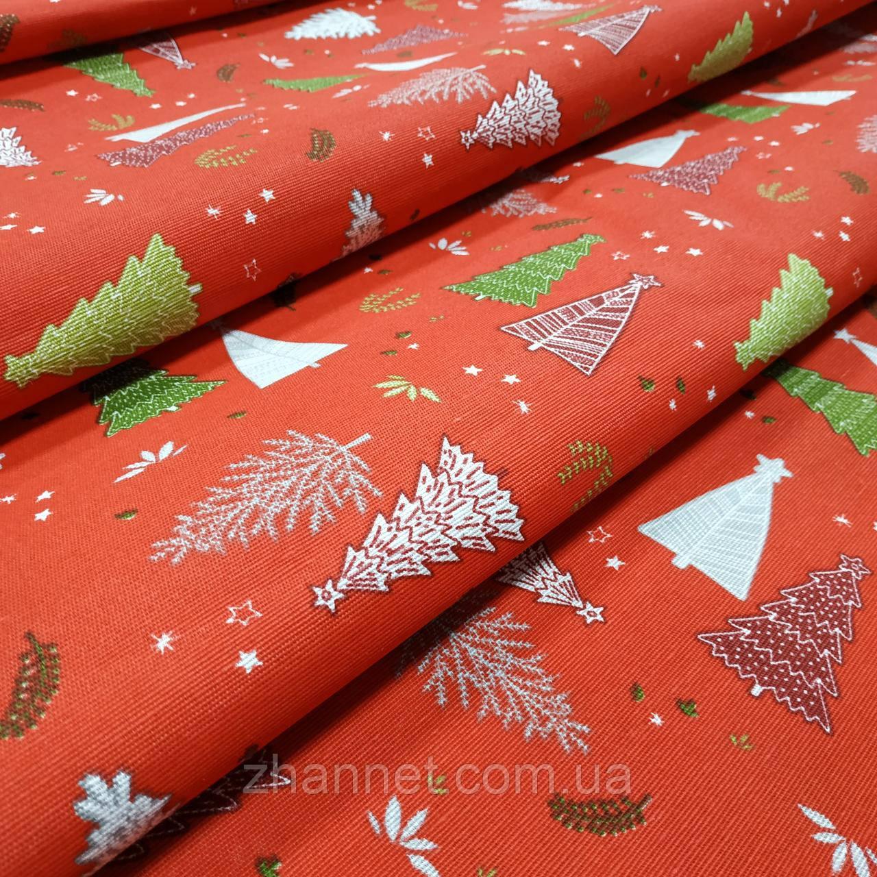 Новогодняя ткань Ёлки фон красный 280 см (113161)