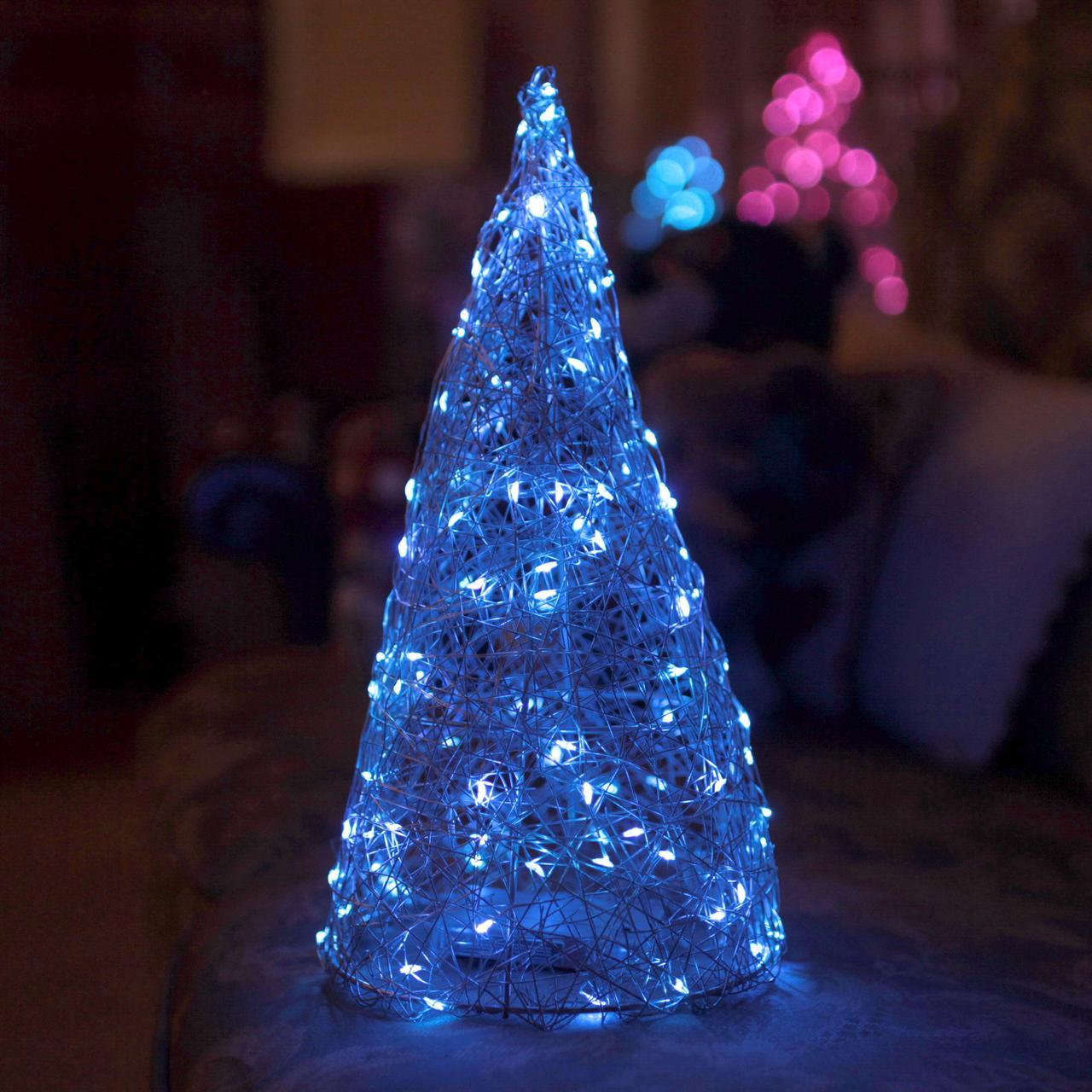 Декор Елка ЛОФТ Новогодняя Рождественская Ель с LED Гирляндой На Батарейках+USB+220V 32х16см SilverBlueLOFT