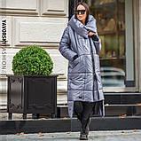 Пальто жіноче з великим коміром : S, M, L, XL. колір синій, фото 4