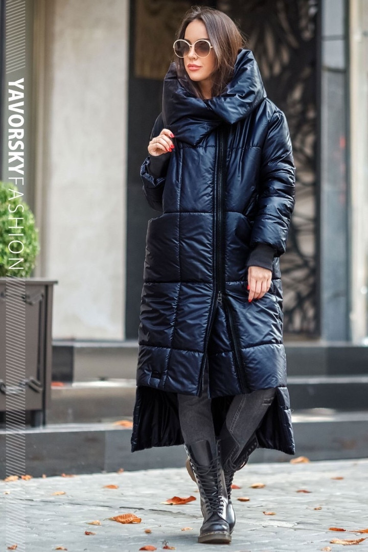 Пальто жіноче з великим коміром : S, M, L, XL. колір синій