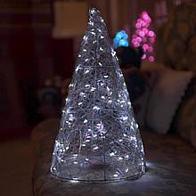 Декор Елка ЛОФТ Новогодняя Рождественская Ель с LED Гирляндой На Батарейках+USB+220V 38х22см SilverColdLOFT