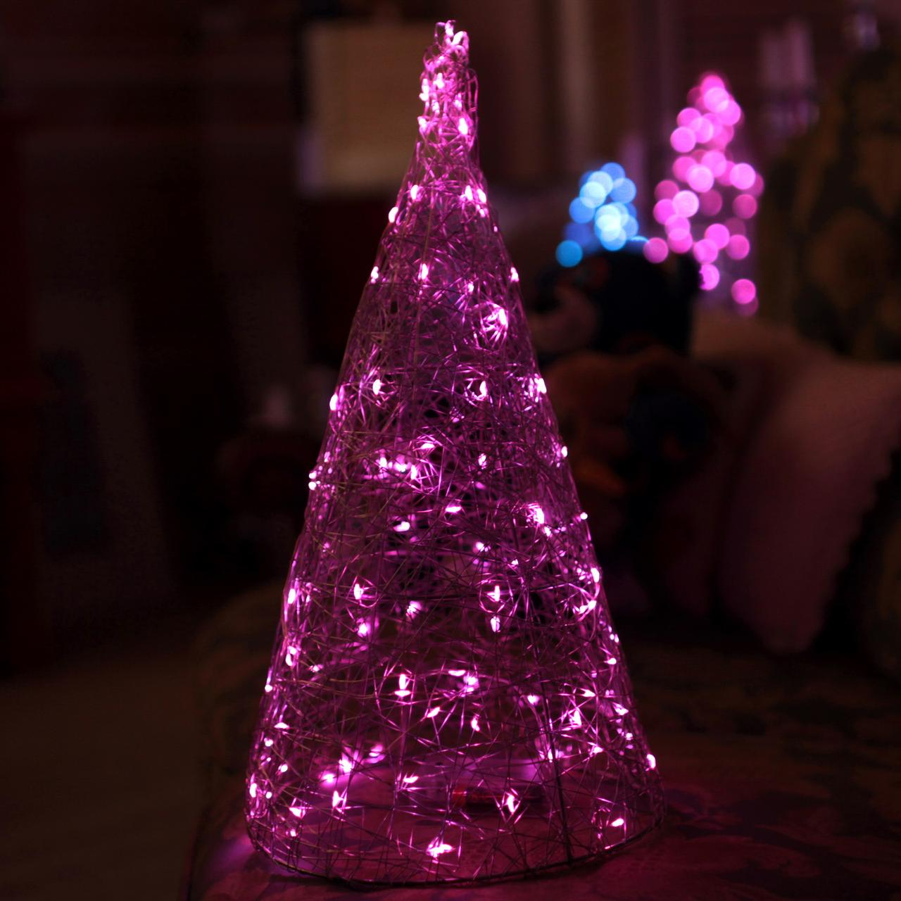Декор Елка ЛОФТ Новогодняя Рождественская Ель с LED Гирляндой На Батарейках+USB+220V 38х22см SilverMultiLOFT
