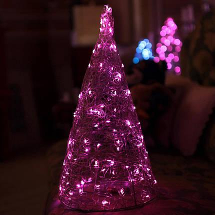 Декор Елка ЛОФТ Новогодняя Рождественская Ель с LED Гирляндой На Батарейках+USB+220V 38х22см SilverMultiLOFT, фото 2