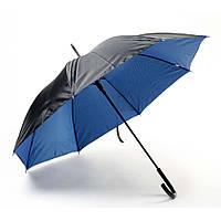 Зонт-трость полуавтомат металлик двухцветный , ручка пластик, черно-синий, от 10 шт.