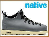 Зимние термо ботинки Native Fitzsimmons Grey White (нейтив фитцсиммонс, серые) термоносок