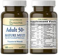 Puritan's Pride, Комплекс витаминов и минералов, Витаминный комплекс Adult 50+ Mature Multi, 60 таблеток