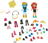 My Little Pony Мода Сансет Шиммер и Рэинбоу Дэш E4244 Rainbow Dash Sunset Shimmer fashion squad Minis