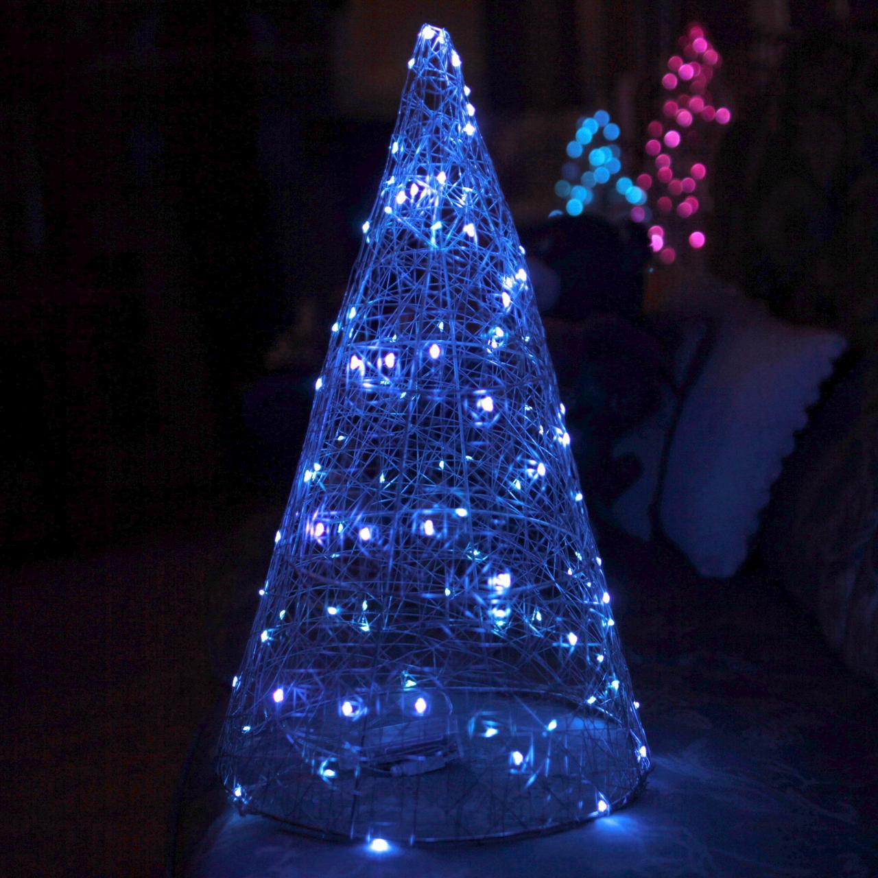 Декор Елка ЛОФТ Новогодняя Рождественская Ель с LED Гирляндой На Батарейках+USB+220V 45х27см SilverBlueLOFT