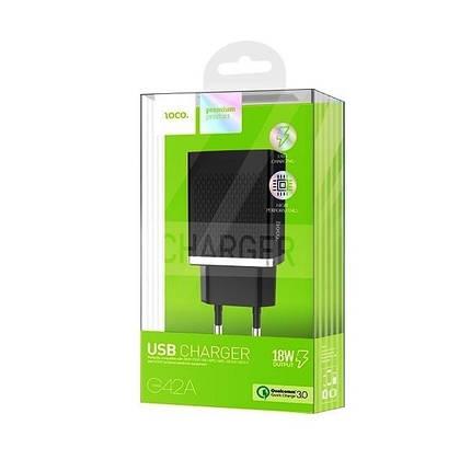 Мережевий зарядний пристрій HOCO C42A 3 A / 1 USB-порт / 12 W / QC 3.0 (Чорний), фото 2