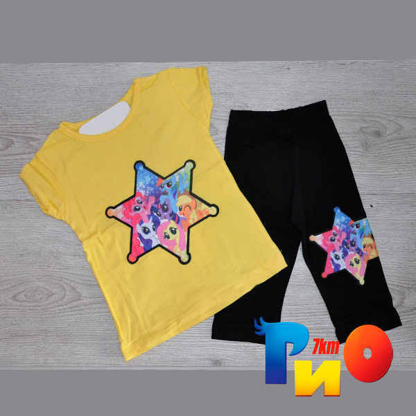 """Летний костюм """"Звезда"""" (футболка и бриджи), трикотаж, для девочек 1-8 лет (86-128 см) (4 ед в уп)"""