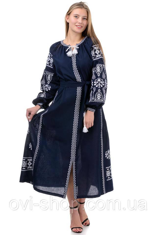 длинное вышитое платье