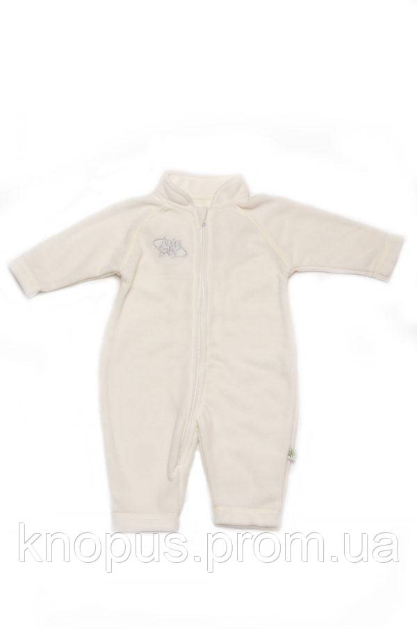 Комбинезон флисовый для мпленьких девочек, молочный, Модный карапузola, размеры 68- 80