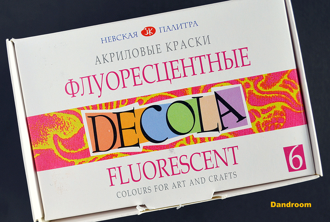 Краски акриловые флуоресцентные, 6 цветов, 20 мл, DECOLA