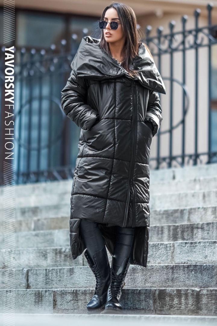 Чорне пальто жіноче з великим коміром : S, M, L, XL.