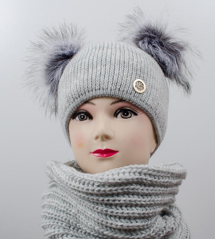 "Комплект ""Дора"", шапка+бафф, (Светло-серый)"