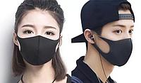 Черная маска - респиратор от вирусов и грязи для лица РМ2.5 как баф