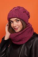 Женский, зимний, головной набор шапка и снуд - восьмерка