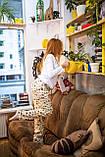 Фланелевая пижама с кофтой Котики S, фото 3