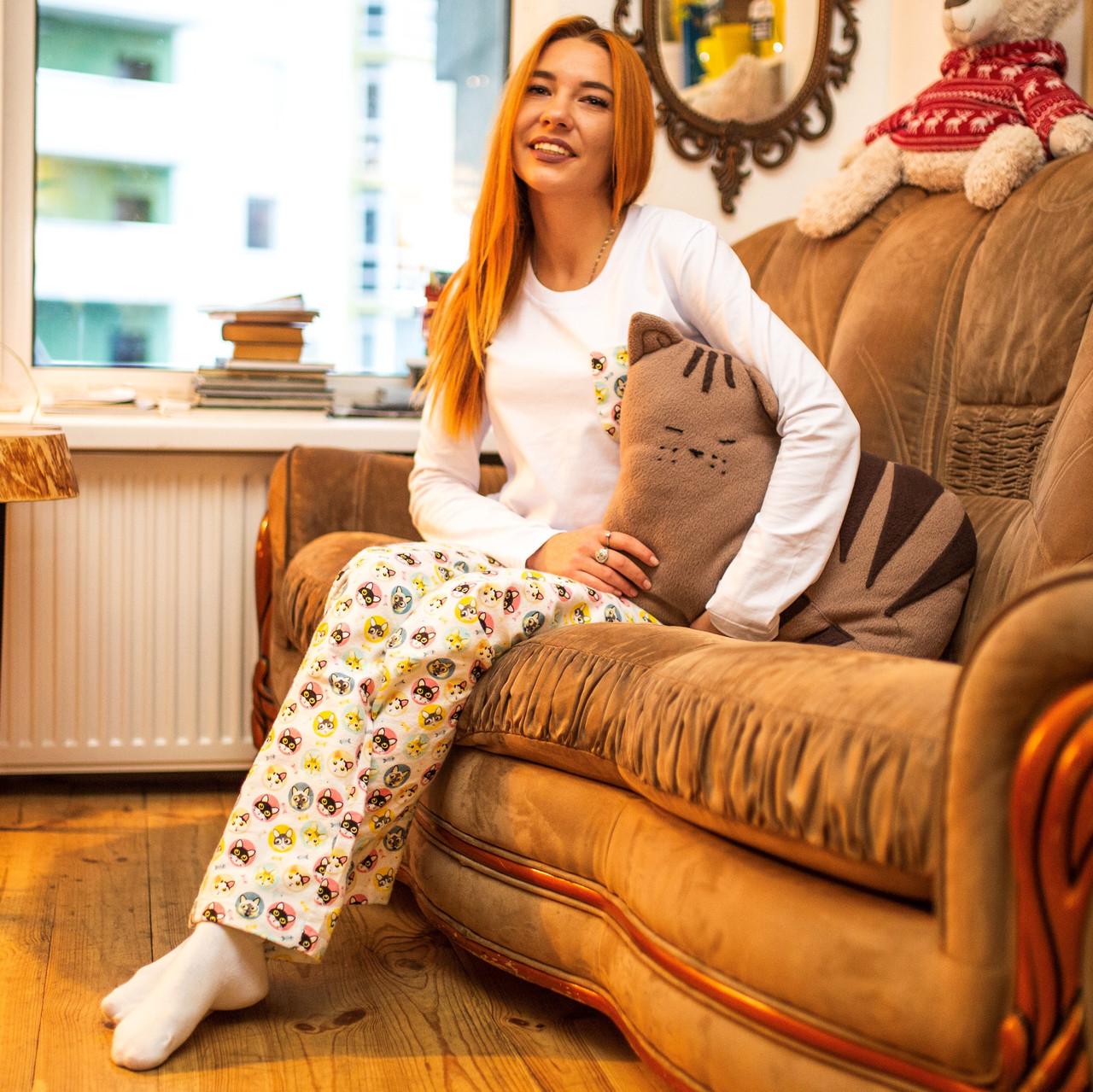 Фланелевая пижама с кофтой Котики S