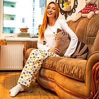 Фланелевая пижама с кофтой Котики S, фото 1