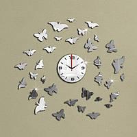 3-D часы настенные бабочки №3 серебряные зеркальные