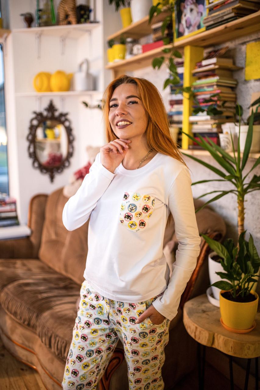 Фланелевая пижама с кофтой Котики L