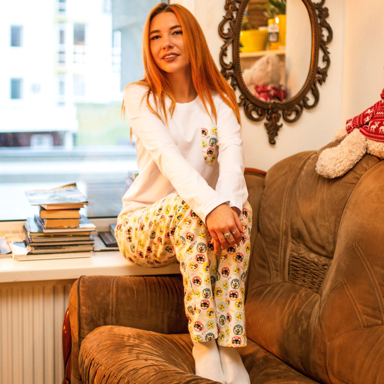 Фланелевая пижама с кофтой Котики XXXL