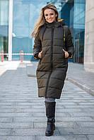 Модная зимняя куртка пальто Одри на тинсулейте 46-56 размера хаки
