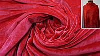 Ткань одёжная стрейч-велюр на трикотаже красный