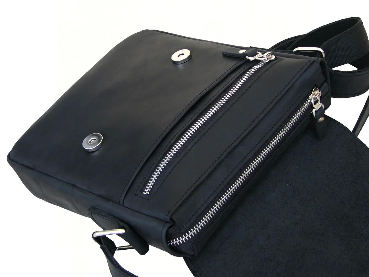 Мужская кожаная сумка через плечо GS черная